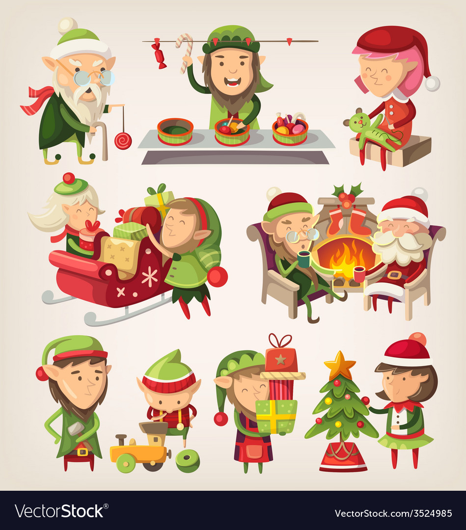 Christmas elves vector   Price: 3 Credit (USD $3)