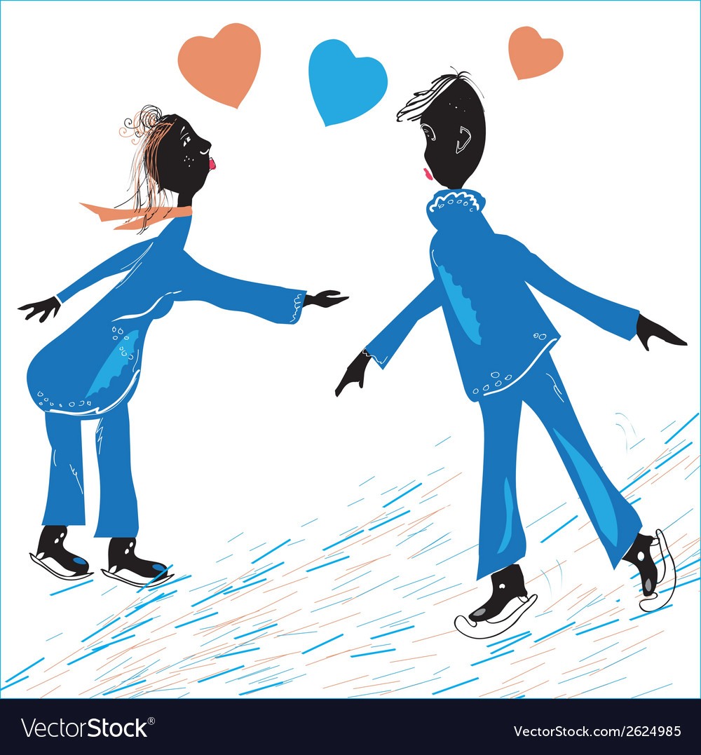 Couple skating vector | Price: 1 Credit (USD $1)