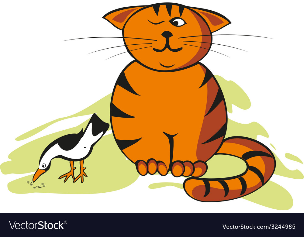Funny cat and bird vector | Price: 1 Credit (USD $1)