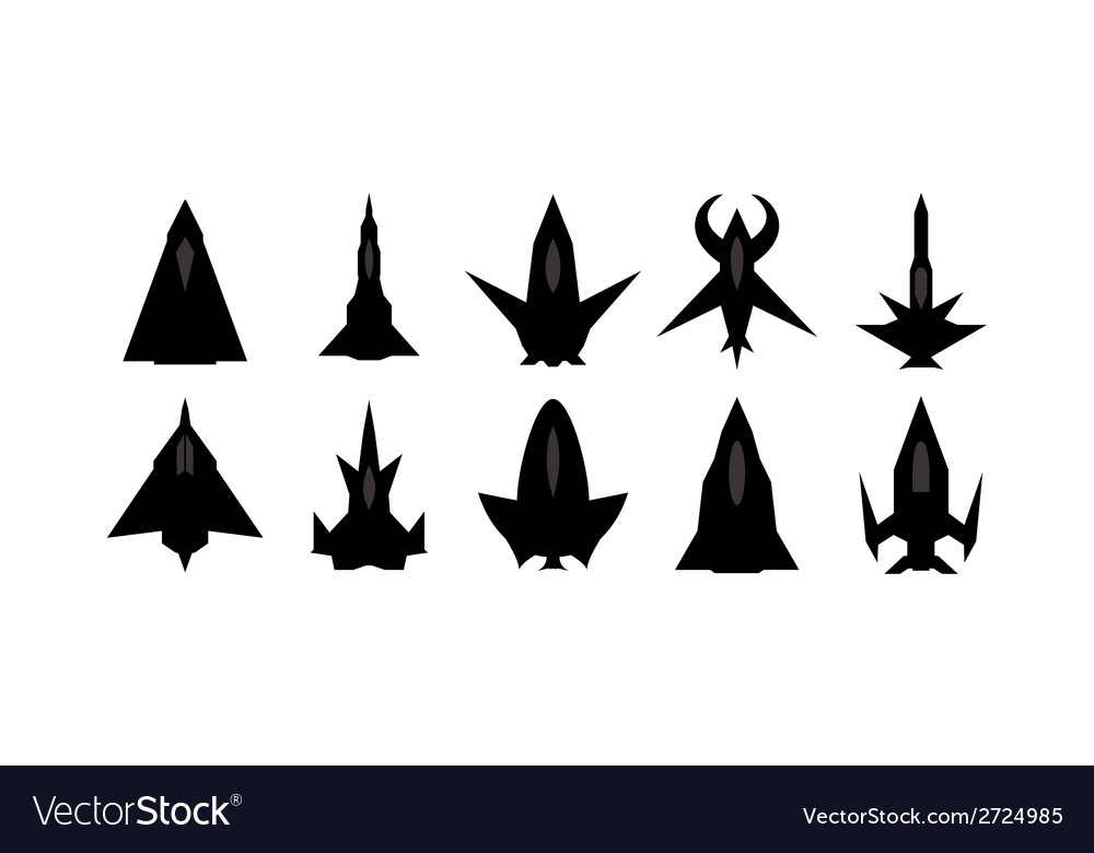 Futuristic spaceship silhouettes set vector | Price: 1 Credit (USD $1)
