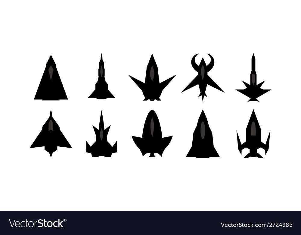 Futuristic spaceship silhouettes set vector   Price: 1 Credit (USD $1)