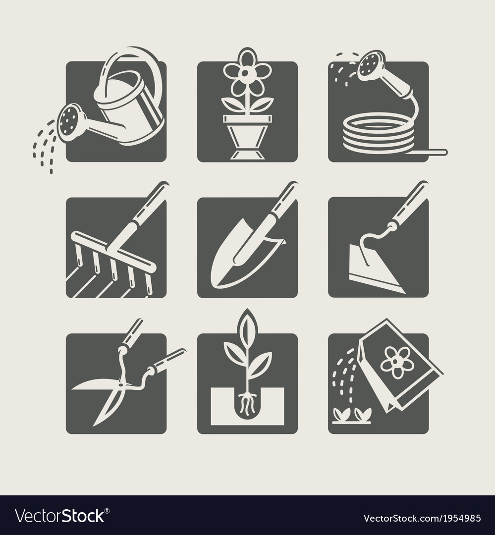 Garden tools icons set vector | Price: 1 Credit (USD $1)