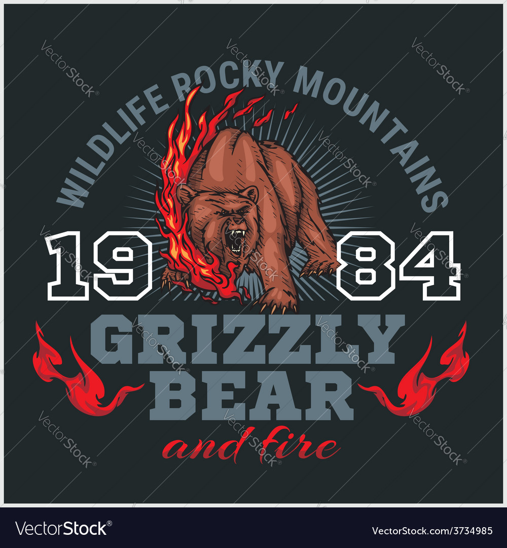 Grizzly bear and fire emblem elements - vector | Price: 3 Credit (USD $3)