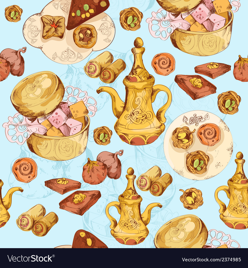 Oriental sweets seamless background vector | Price: 1 Credit (USD $1)