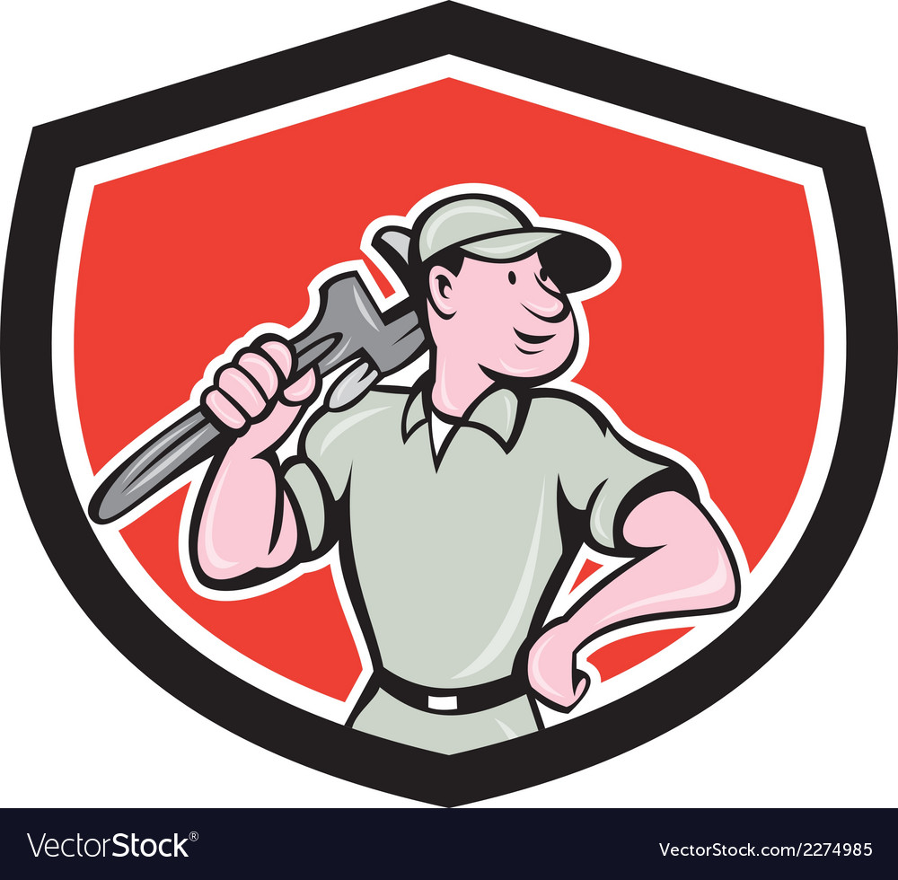 Plumber holding wrench shield cartoon vector | Price: 1 Credit (USD $1)