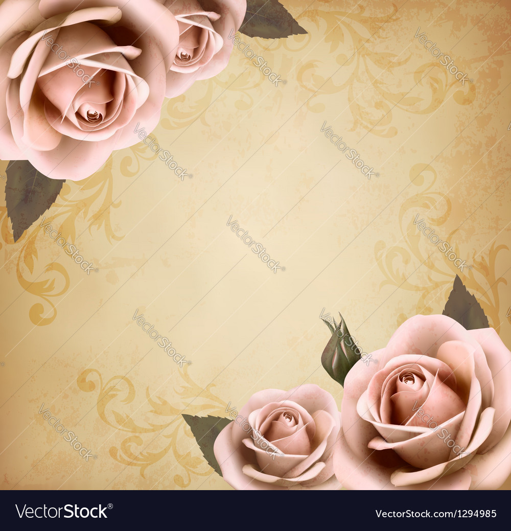 Retro background with beautiful pink roses with vector | Price: 1 Credit (USD $1)