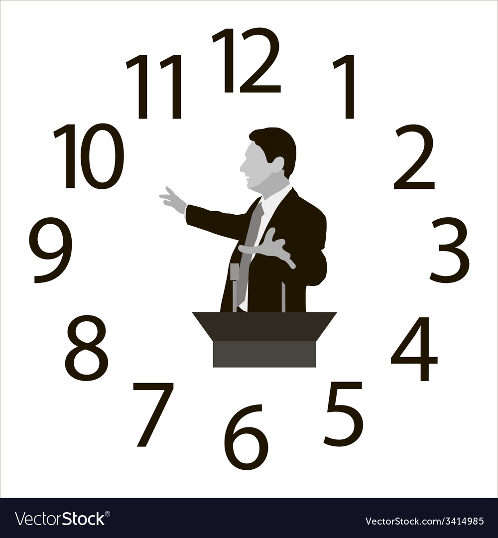 Speaker on the background of dial hours vector | Price: 1 Credit (USD $1)