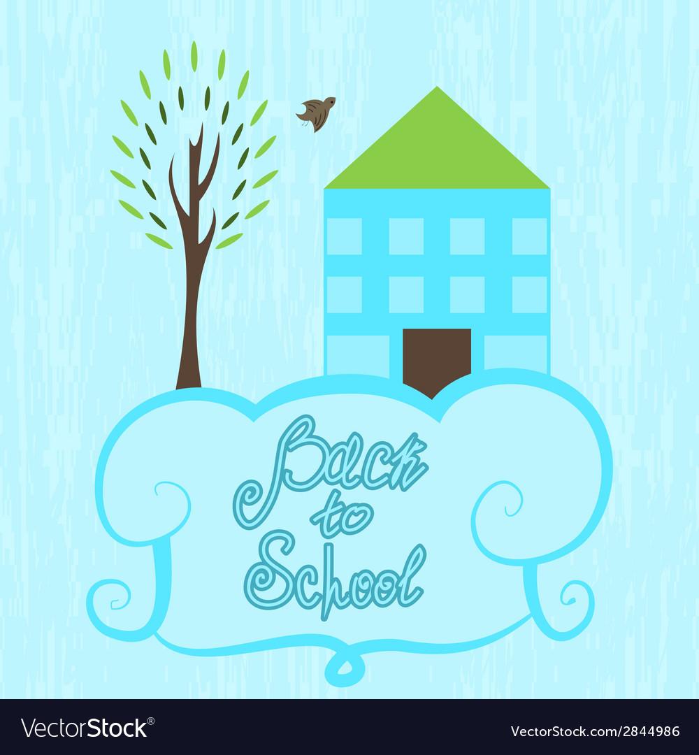 Back to school cartoon poster school background vector | Price: 1 Credit (USD $1)