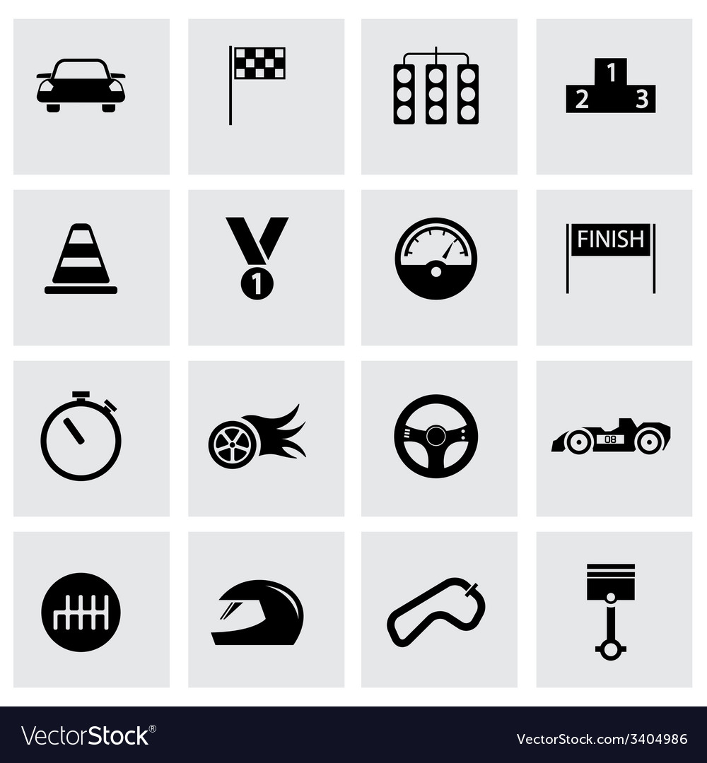 Black racing icons set vector | Price: 1 Credit (USD $1)
