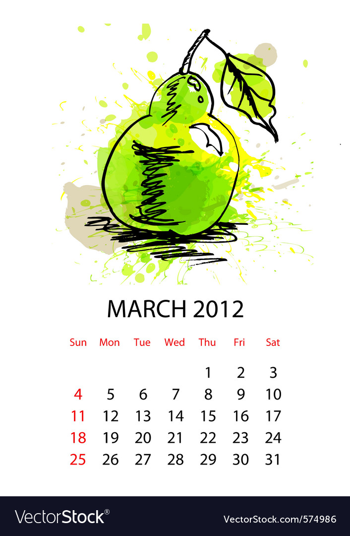 Calendar for 2012 with fruit march vector | Price: 1 Credit (USD $1)