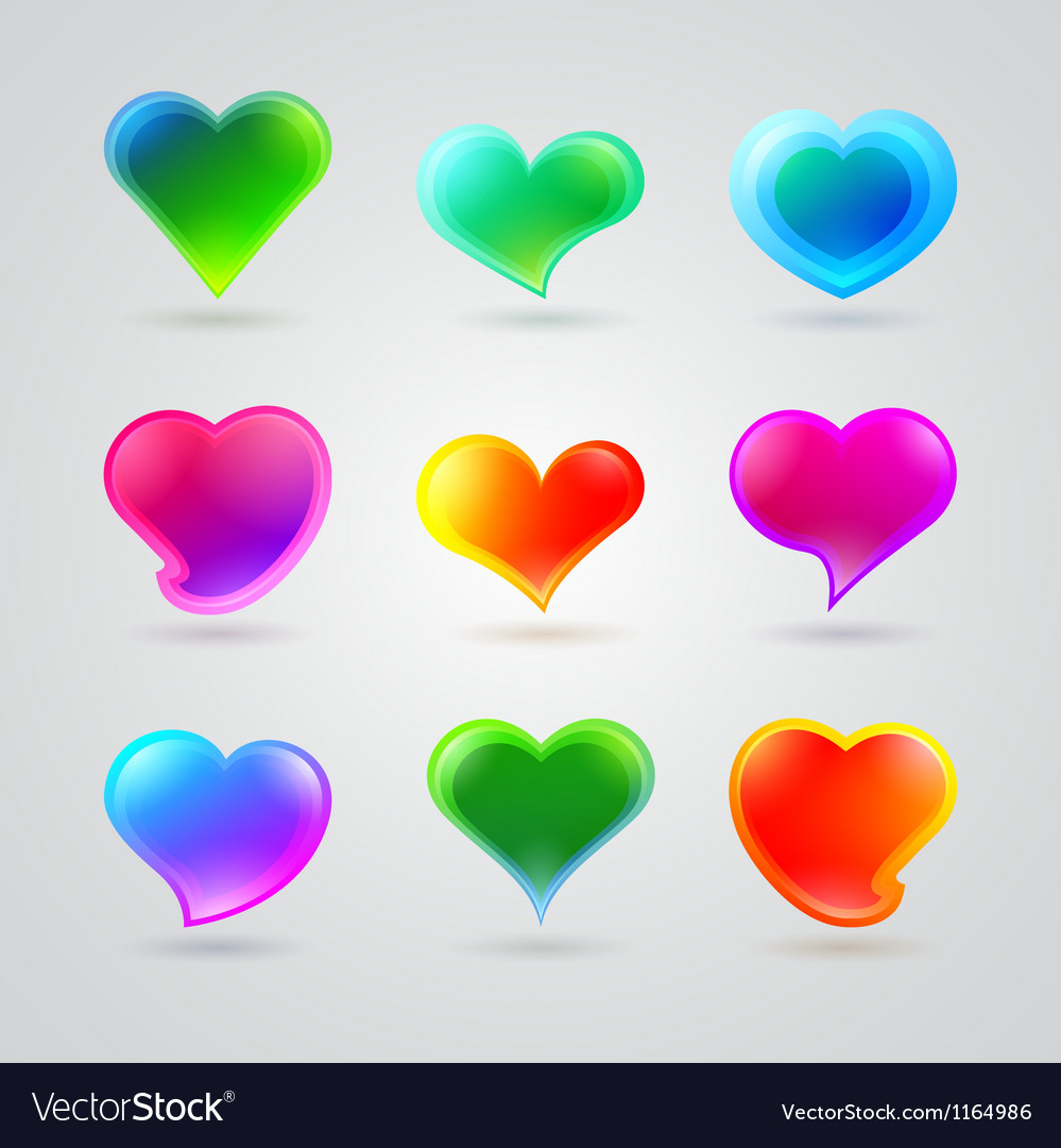 Collection of different color hearts vector | Price: 1 Credit (USD $1)