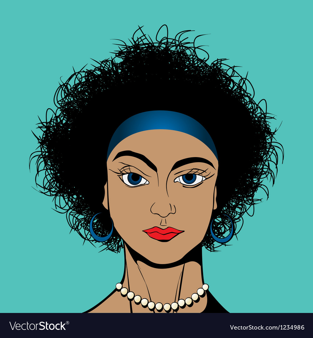 Curly hair girl vector | Price: 1 Credit (USD $1)