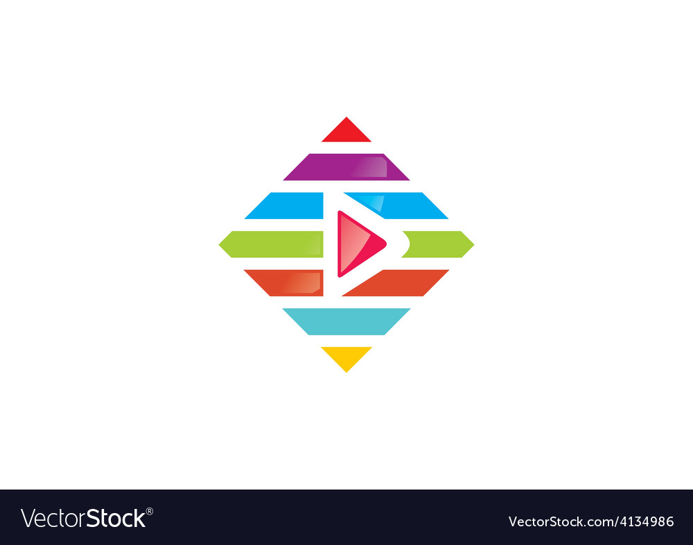 Play video colorful line logo vector | Price: 1 Credit (USD $1)