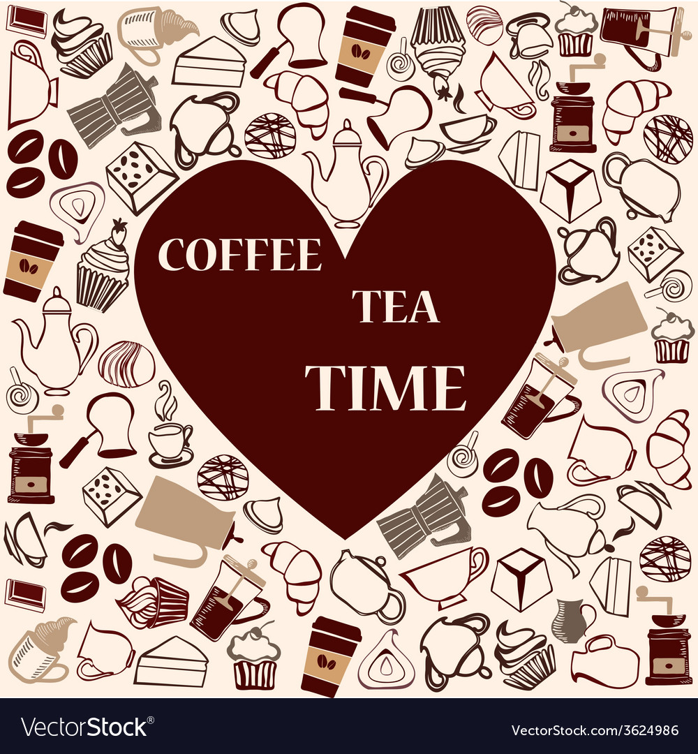 Tea coffee heart shape vector | Price: 1 Credit (USD $1)