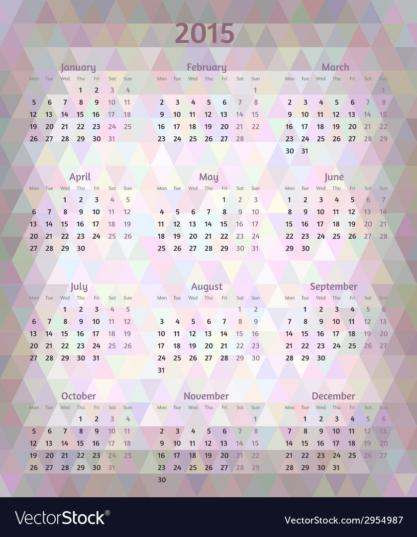 Abstract 2015 year polygonal calendar vector   Price: 1 Credit (USD $1)