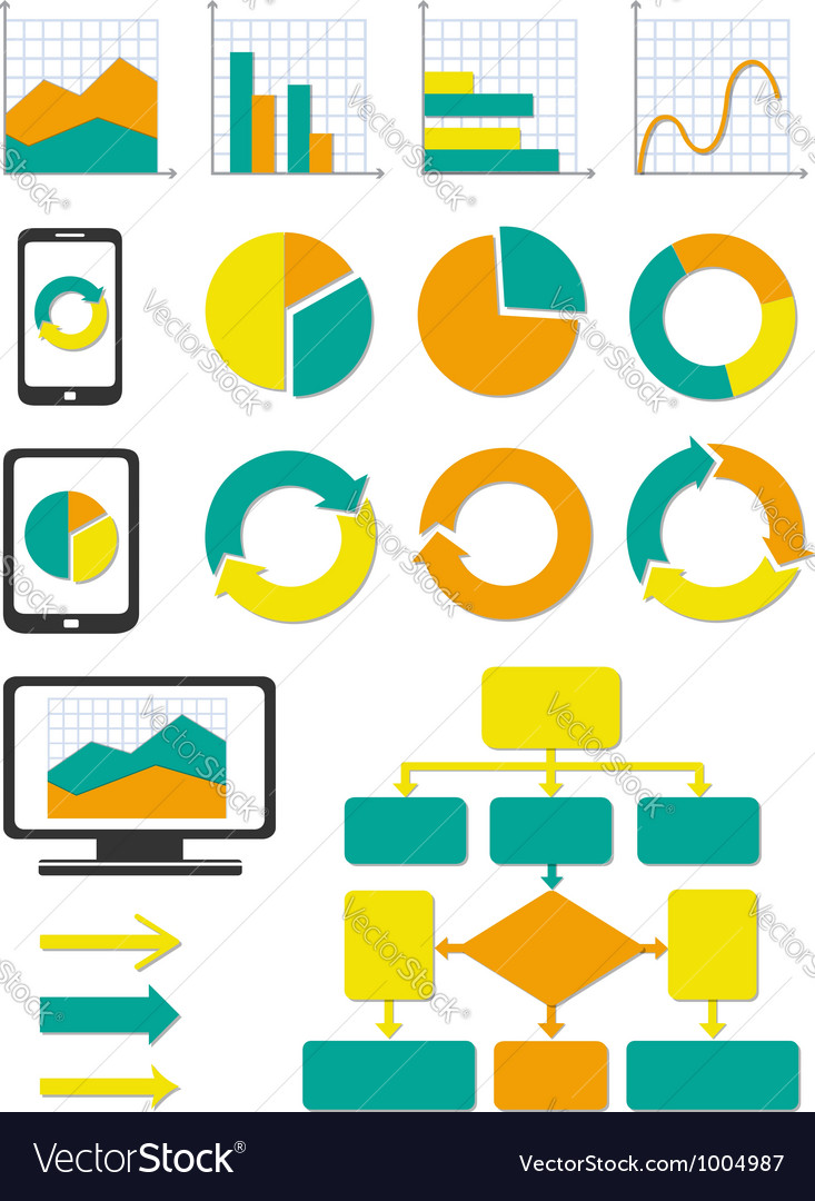 Business chart and info graph icons set vector | Price: 3 Credit (USD $3)
