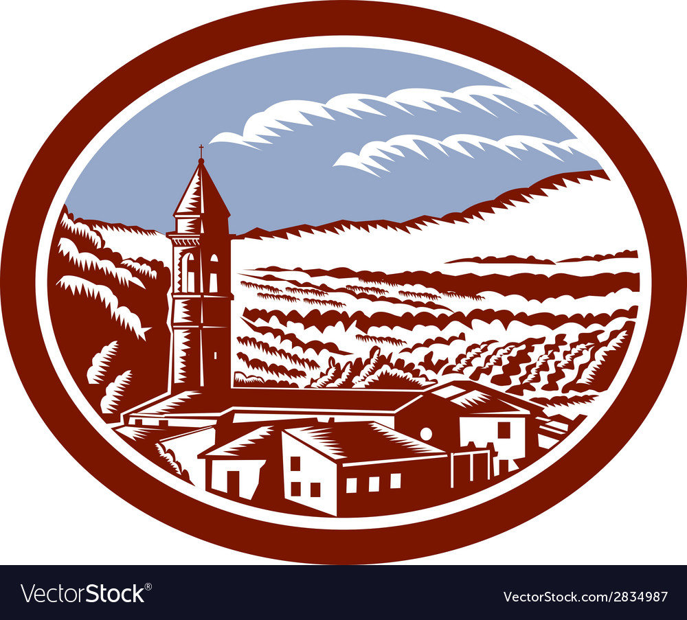 Church belfry tower tuscany italy woodcut vector | Price: 1 Credit (USD $1)