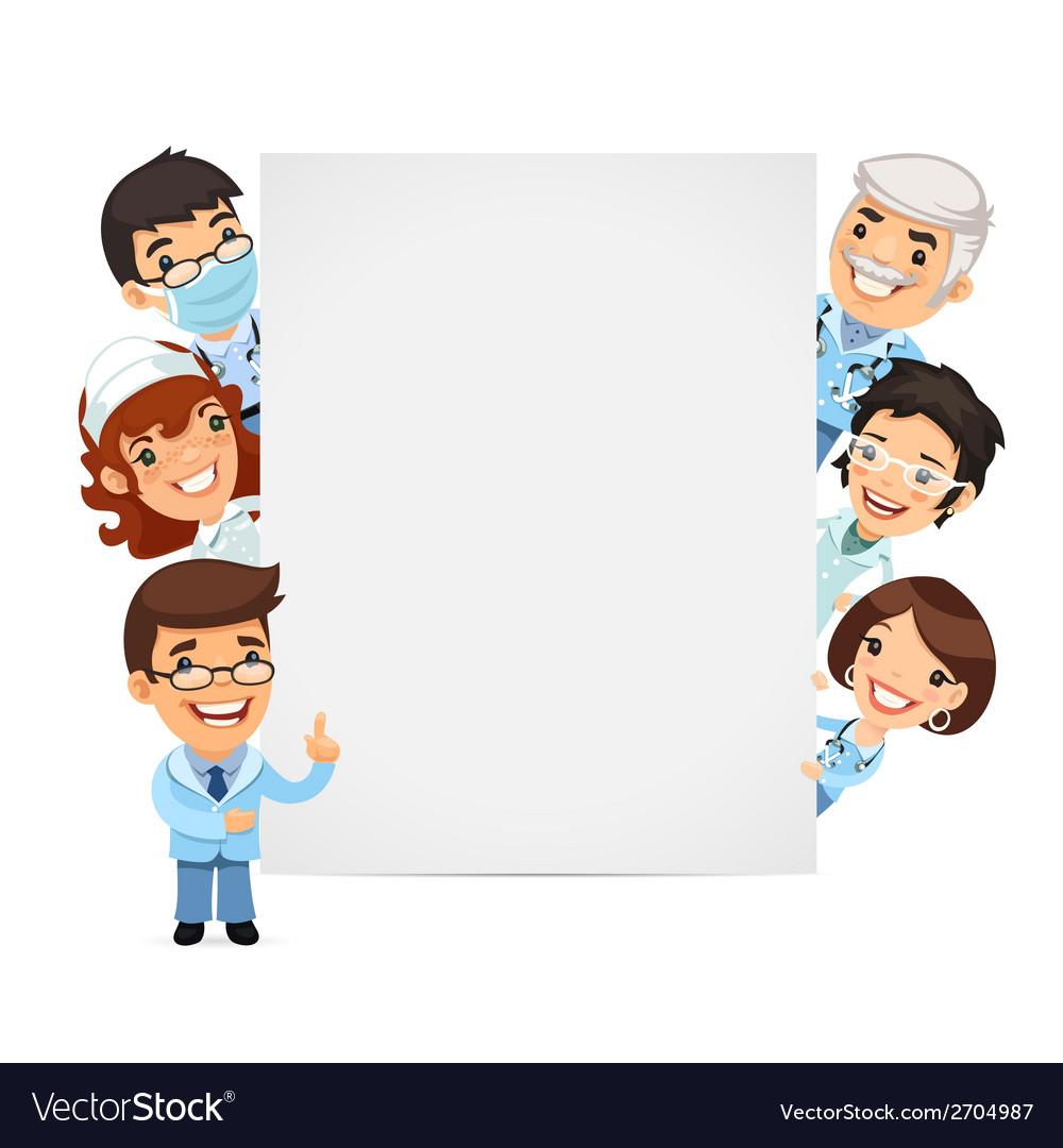 Doctors presenting empty vertical banner vector | Price: 1 Credit (USD $1)