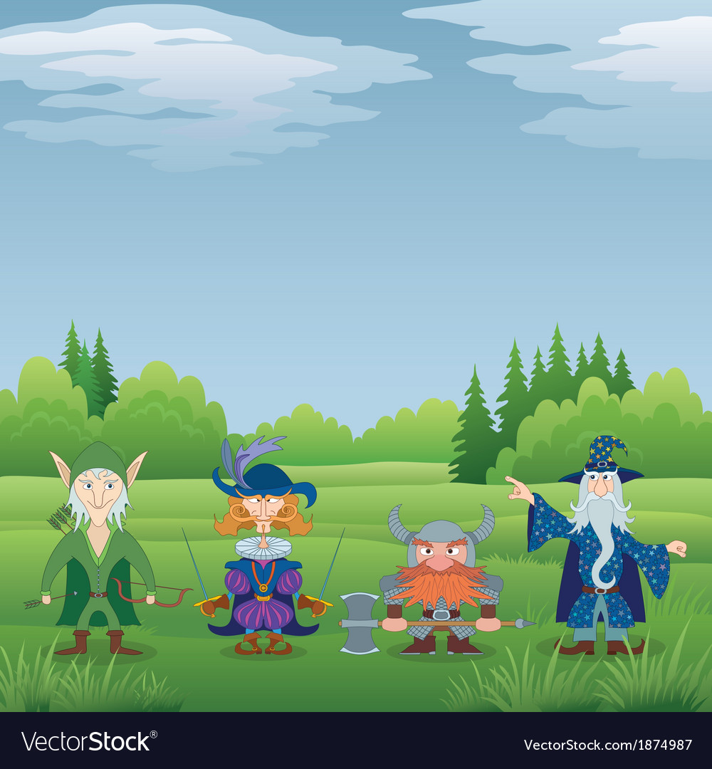 Fantasy heroes in forest vector | Price: 1 Credit (USD $1)