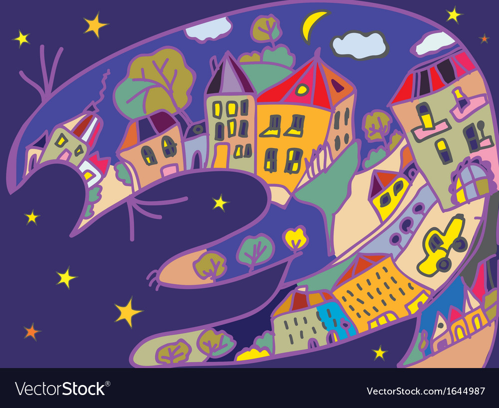 Greeting card with cat and night town vector | Price: 1 Credit (USD $1)