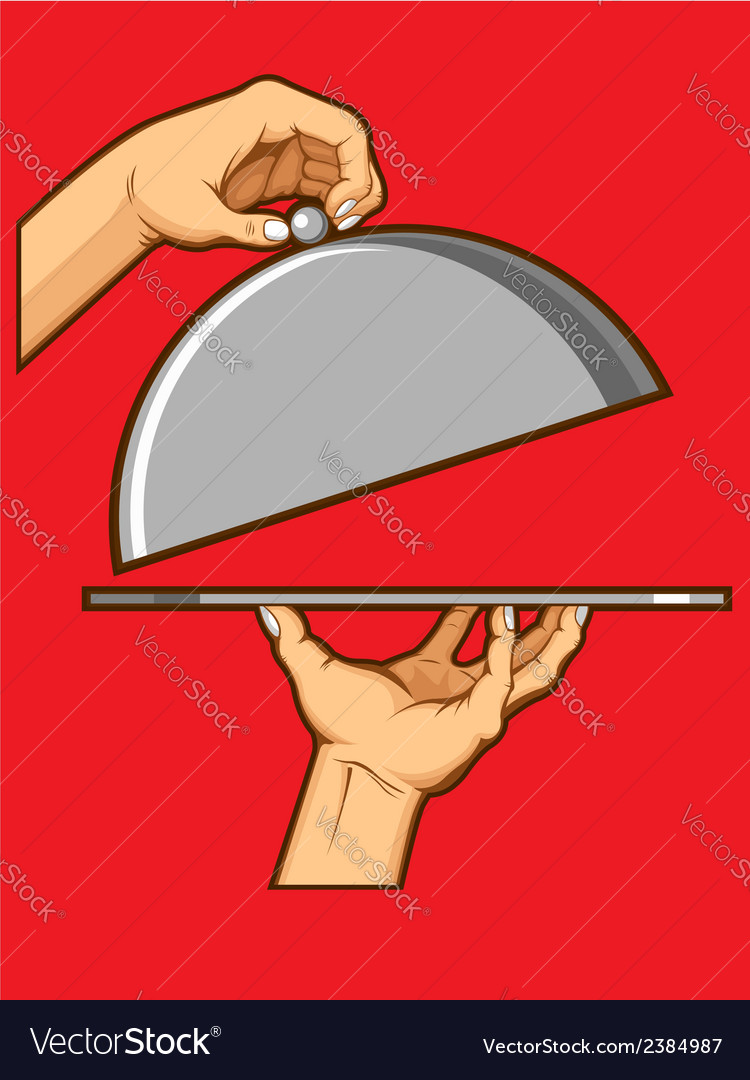 Hands opening tray of food vector | Price: 1 Credit (USD $1)