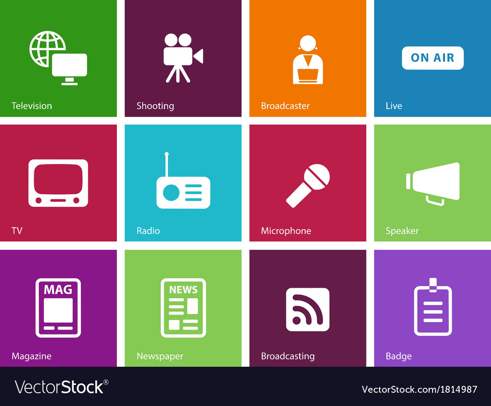 Media icons on color background vector | Price: 1 Credit (USD $1)