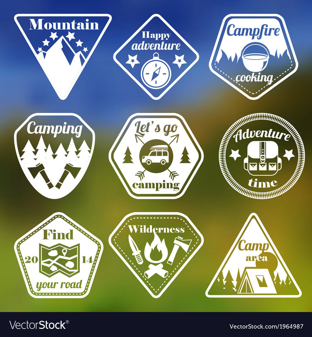 Outdoors tourism camping flat emblems set vector | Price: 1 Credit (USD $1)