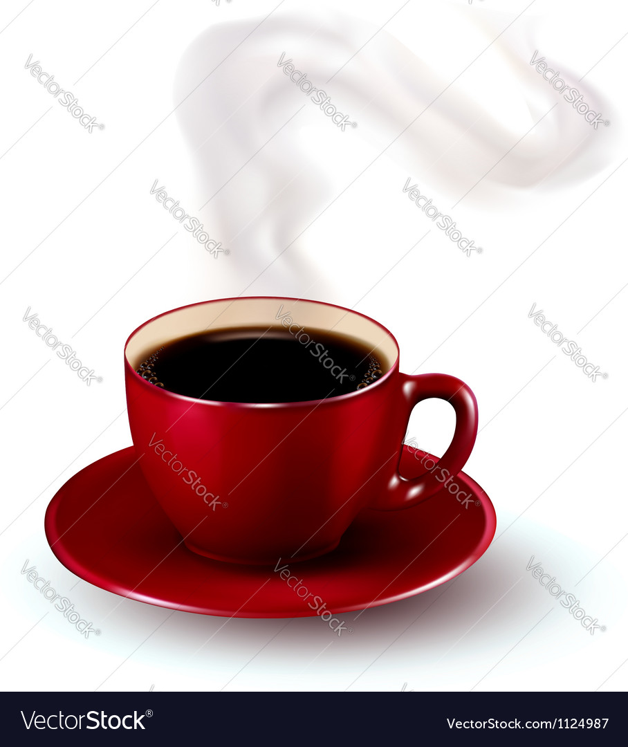 Perfect red cup of coffee with steam vector | Price: 1 Credit (USD $1)