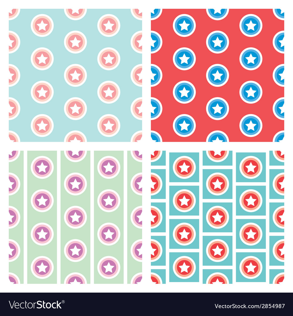 Star in circle seamless pattern background vector | Price: 1 Credit (USD $1)