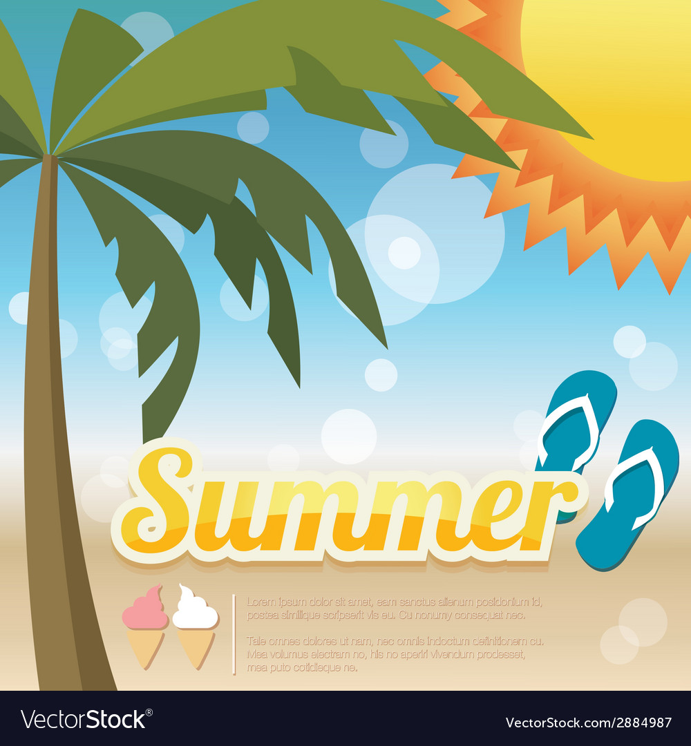 Summer holiday card with palm trees and flip flops vector | Price: 1 Credit (USD $1)