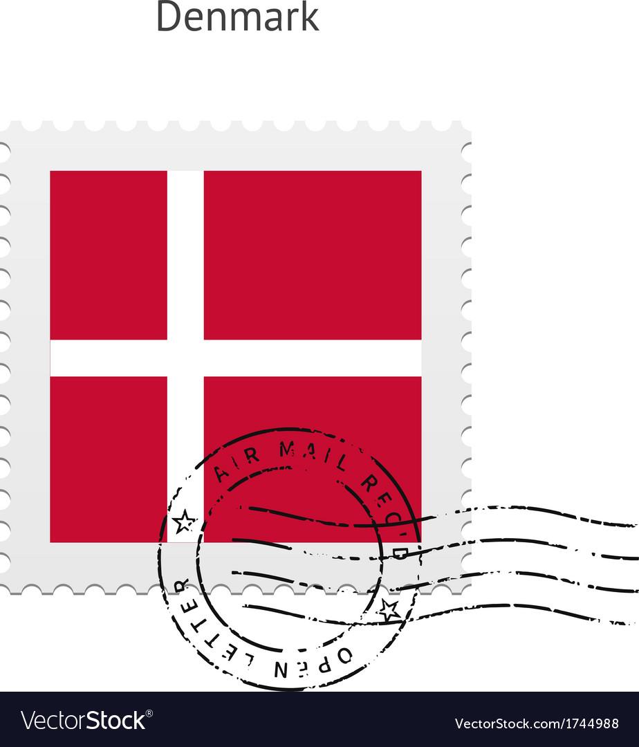 Denmark flag postage stamp vector | Price: 1 Credit (USD $1)