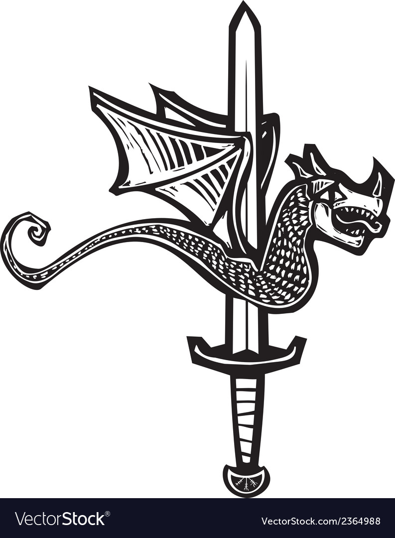 Dragon sword up vector | Price: 1 Credit (USD $1)