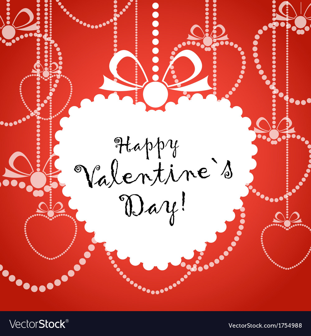 Happy valentine day greeting card with white heart vector | Price: 1 Credit (USD $1)