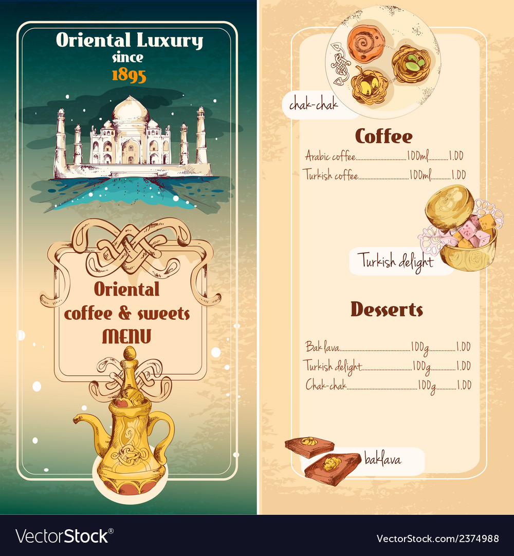 Oriental sweets menu vector | Price: 1 Credit (USD $1)