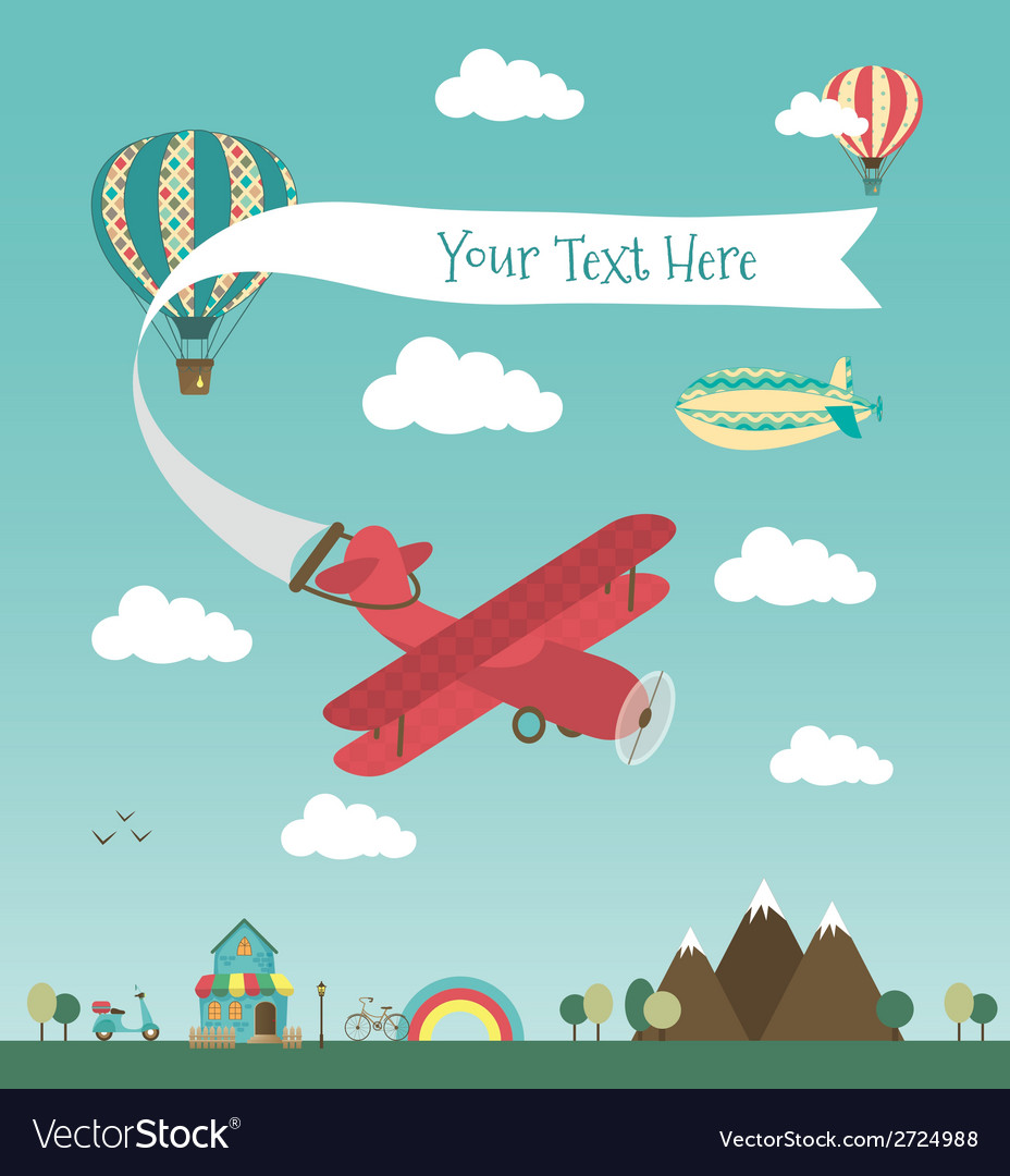 Retro air plane banner design vector | Price: 1 Credit (USD $1)