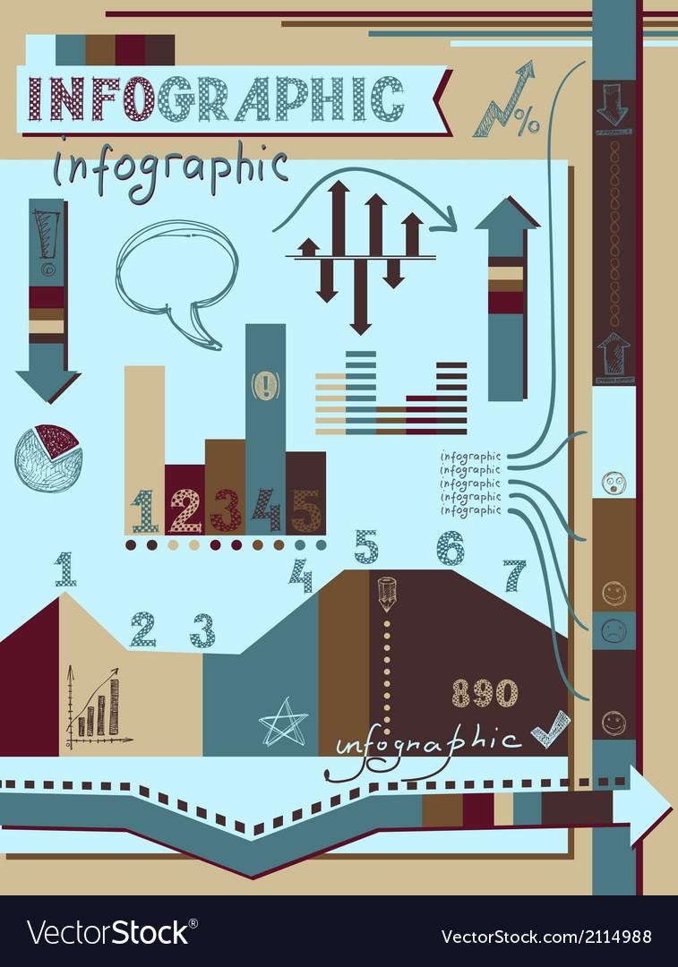 Retro infographics elements set vector | Price: 1 Credit (USD $1)