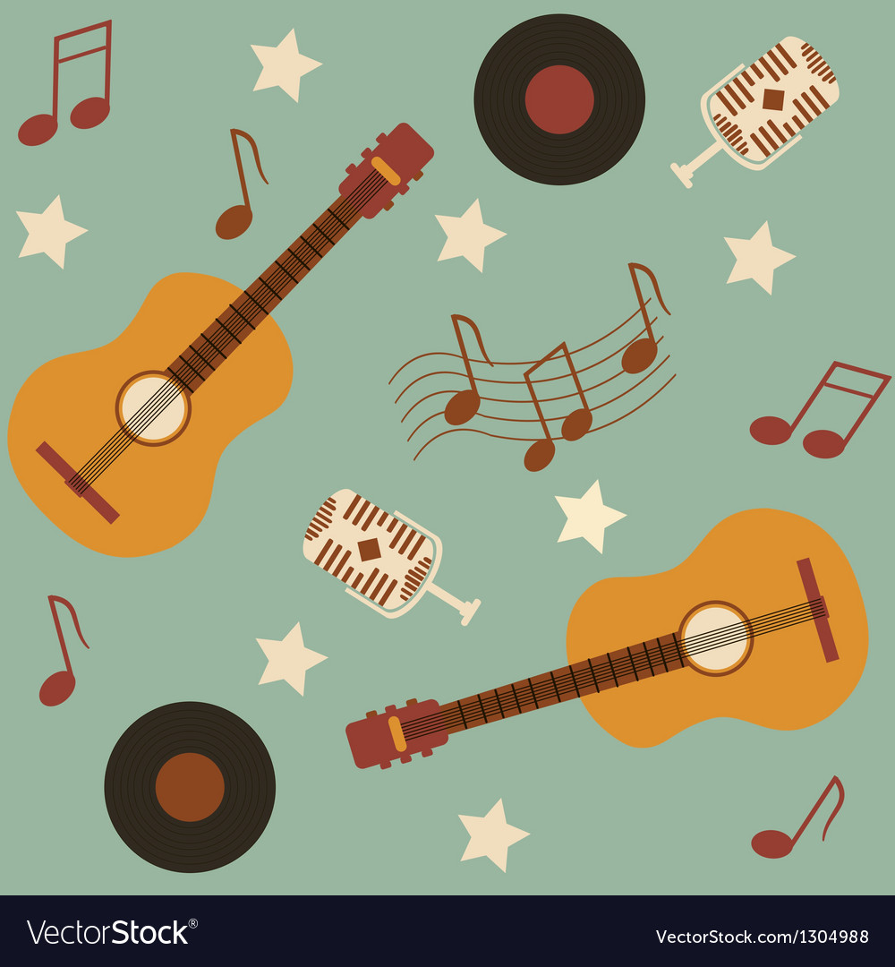 Seamless musical pattern with guitars vector | Price: 1 Credit (USD $1)