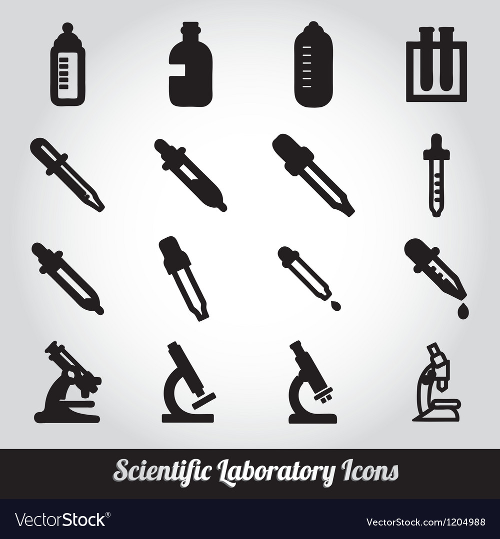 Set of scientific laboratory equipment symbols vector | Price: 1 Credit (USD $1)