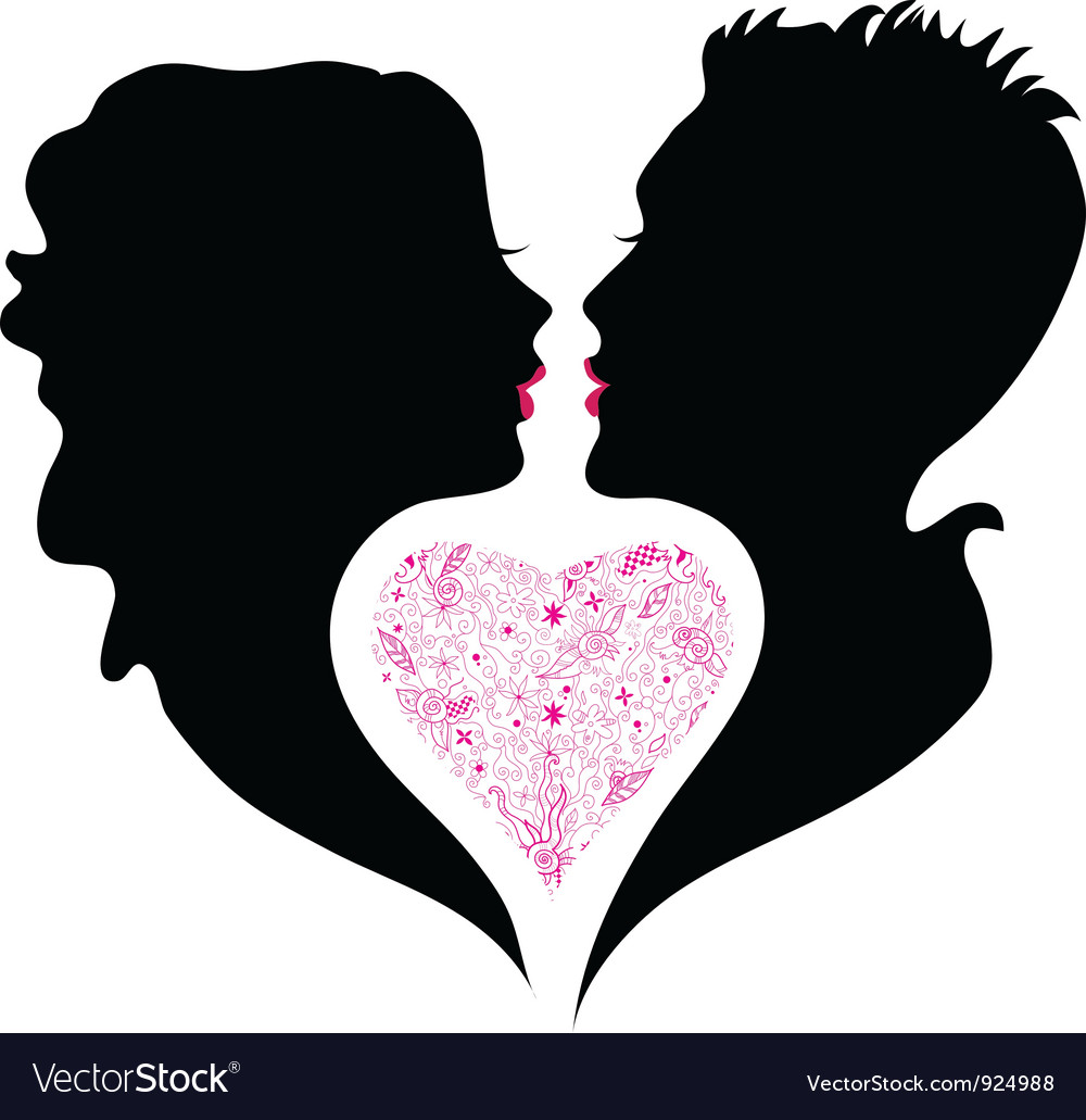 Silhouette of boy and girl in love vector | Price: 1 Credit (USD $1)