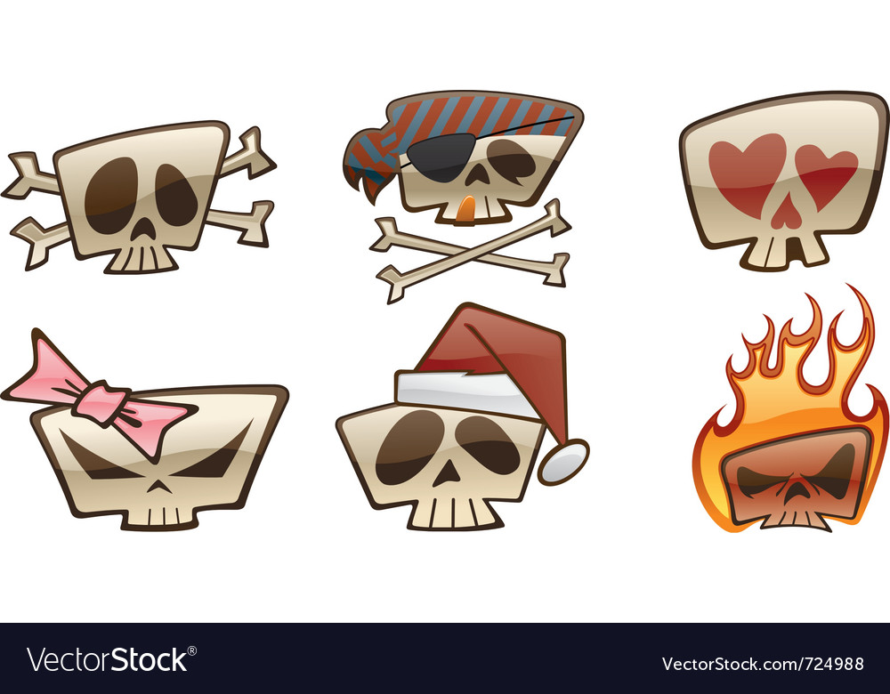 Square skull icons two vector