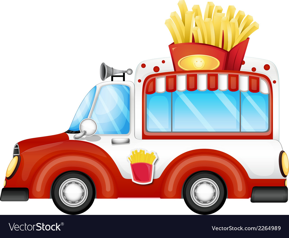 A vehicle selling fries vector | Price: 1 Credit (USD $1)