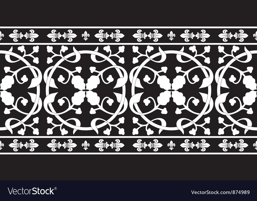 Black-and-white gothic floral pattern vector | Price: 1 Credit (USD $1)