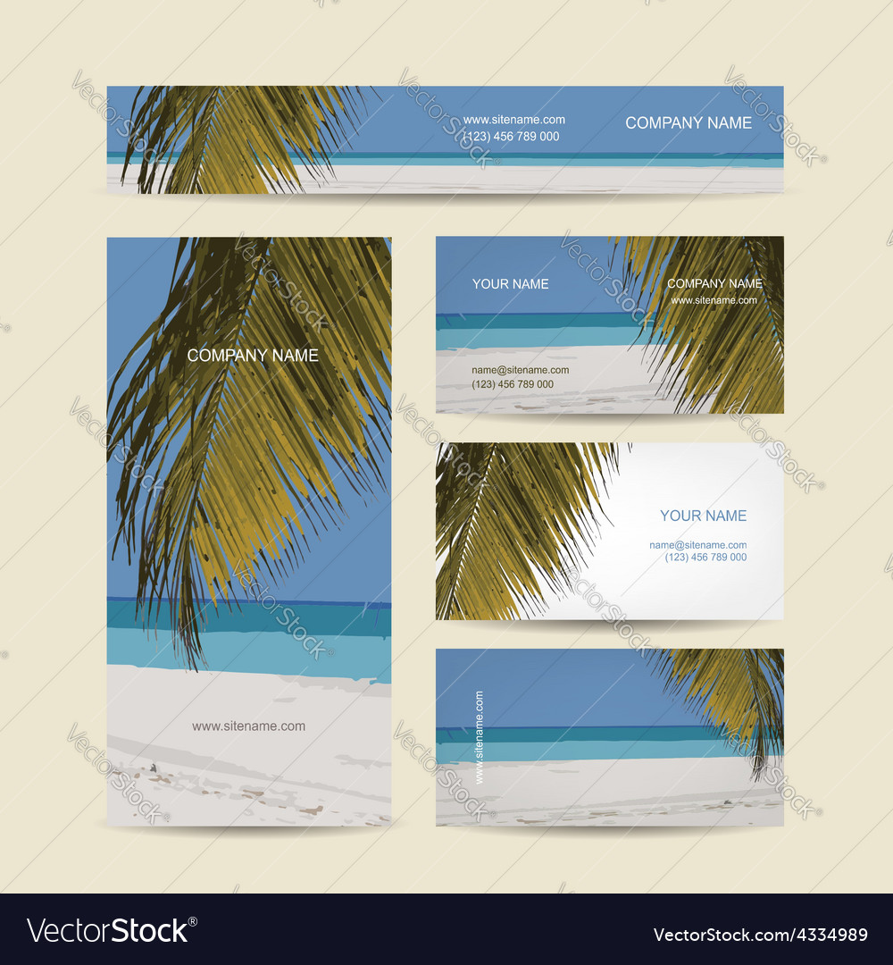 Business cards design tropical island vector | Price: 1 Credit (USD $1)