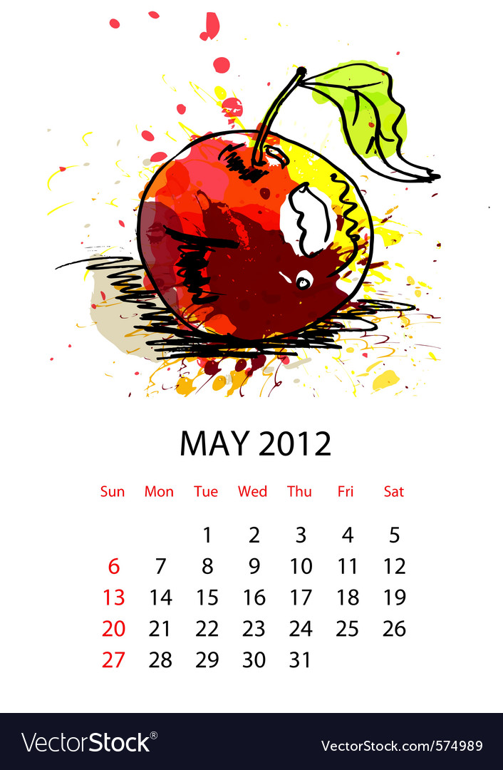Calendar with fruit for 2012 may vector | Price: 1 Credit (USD $1)