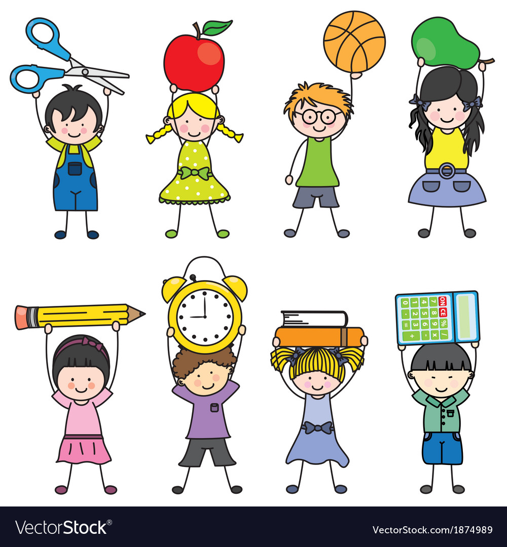 Children with school objects vector | Price: 1 Credit (USD $1)