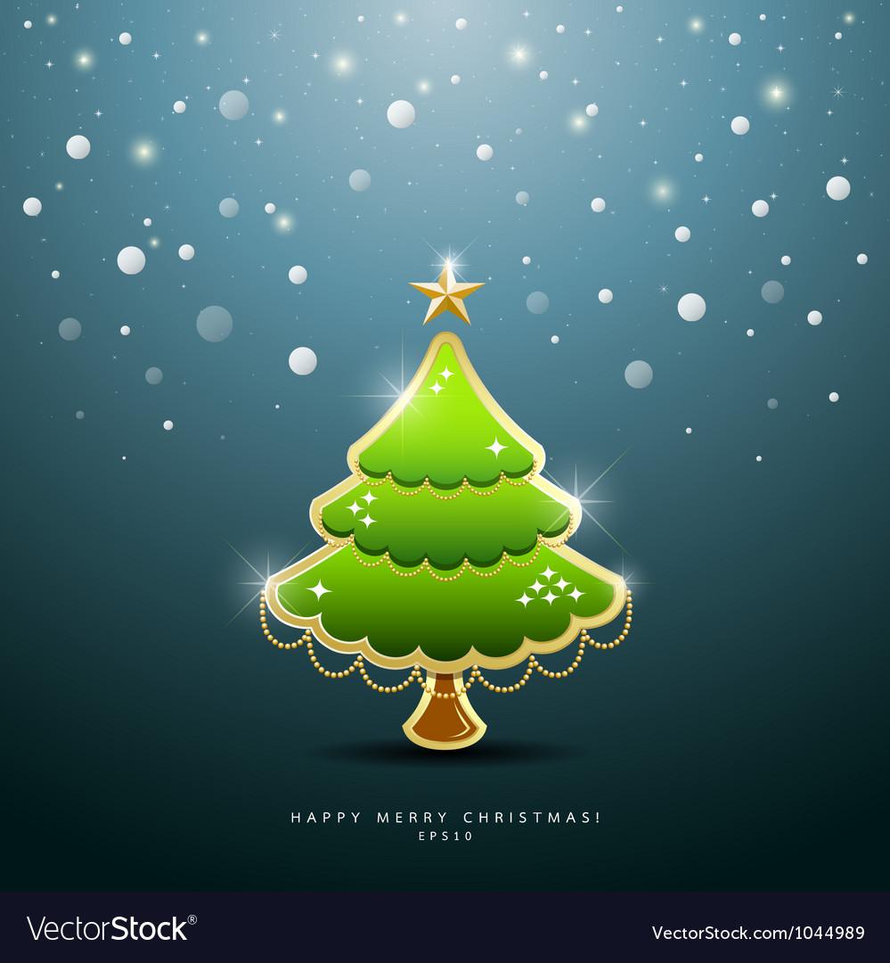 Christmas green tree greeting card vector | Price: 1 Credit (USD $1)