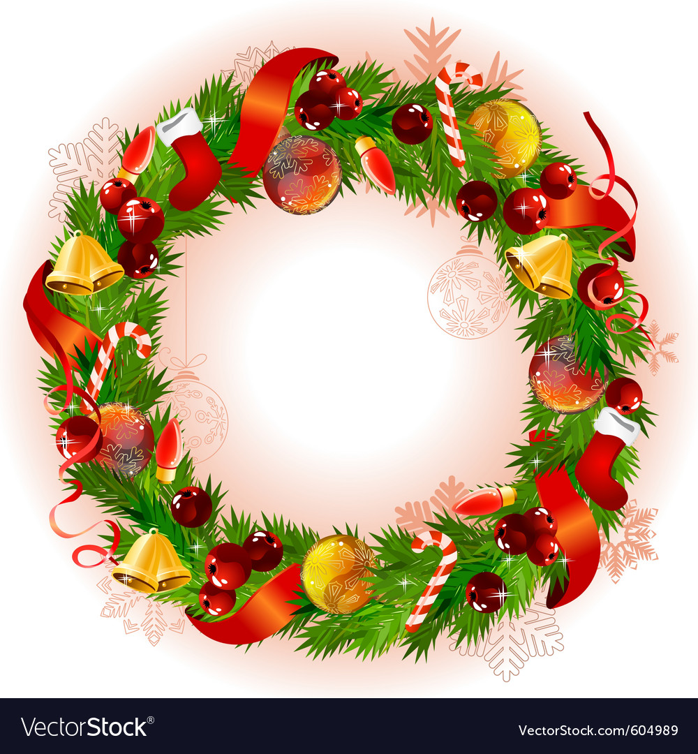 Christmas wreath with fir branches and balls vector | Price: 1 Credit (USD $1)