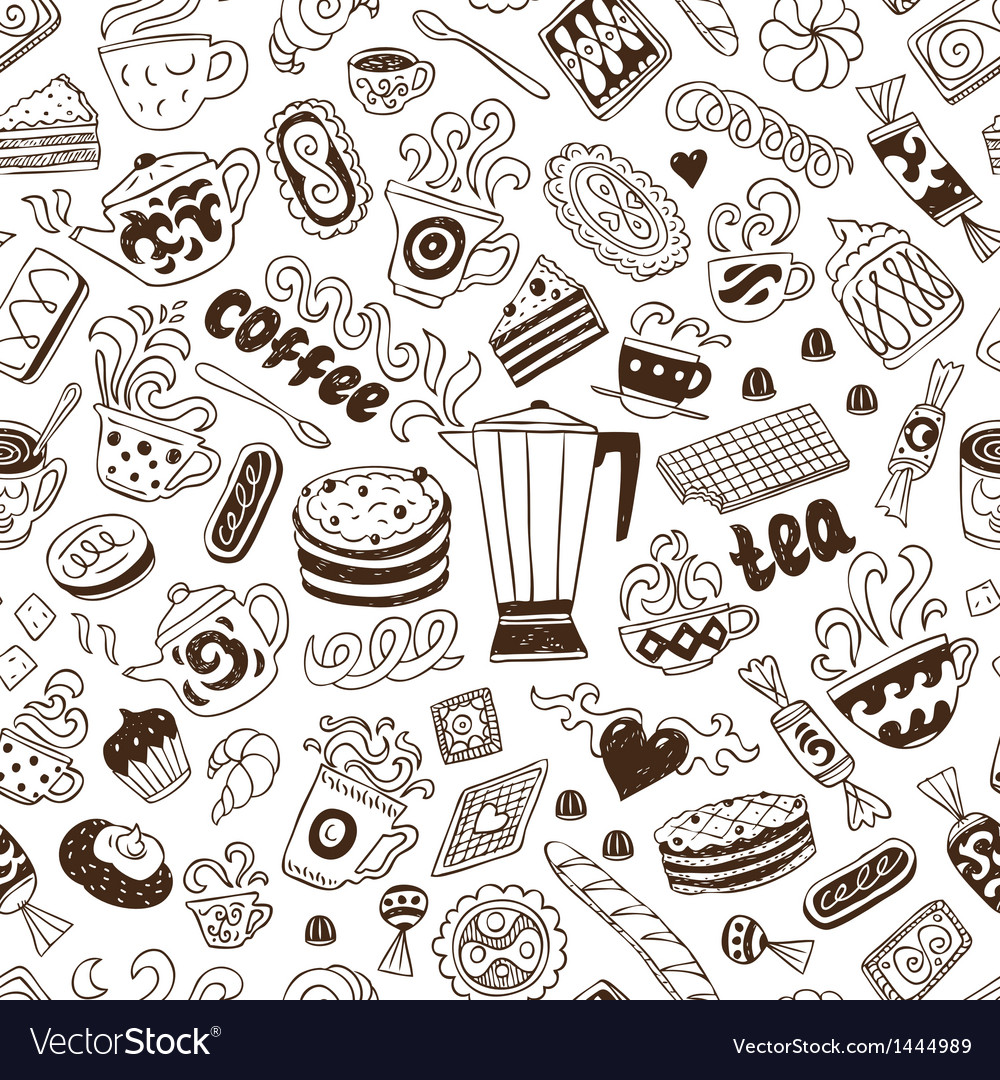 Coffee and sweets - seamless background vector   Price: 1 Credit (USD $1)