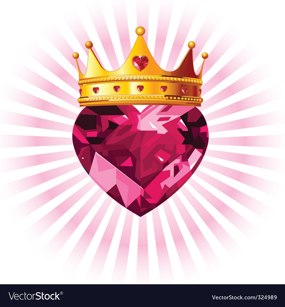 Crystal heart with crown vector | Price: 3 Credit (USD $3)