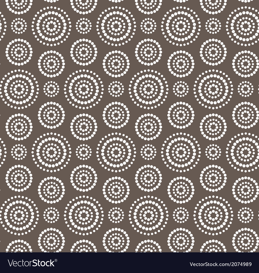Dots circles white seamless pattern on dark brown vector | Price: 1 Credit (USD $1)